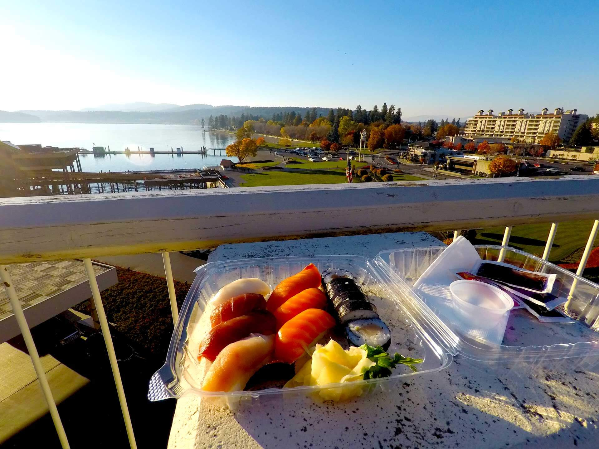 Eat your sushi wherever you want. Even take it downtown Coeur d'Alene and eat it at Tubbs Hill.